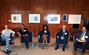 Attending From UAlbany to the Runway are, from left, Evan Ross ('92), Latisha Daring ('96), Elizabeth Ukpe ('07), Steve Leibow ('91) and Thomas Ott ('88). Photo by Casey So Hyeun Cho