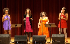 From Left: Malka Zarra, Basya Schechter, Ayelet Rose Gottlieb and Sofia Rei sing at the Recital Hall in UAlbany's Performing Arts Center Photo by Casey So Hyeun Cho