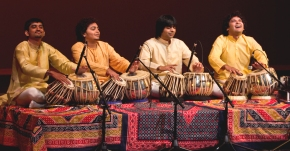From left, Kaumil Shah, Rahul Shrimali, Rushi Vakil and Sahil Patel. NOTE: Rahul Shrimali was not present at Thursday's performance. Michael Lukshis and Heena Patel are not pictured here. Photo by Joseph Hammond