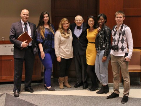 Harry Rosenfeld and a few of the students from the course, Mallory Collier, Arielle Ahr, Rosenfeld, Casey Cho, Murielle Henriquez and Dan Clark, and the instructor Michael Huber